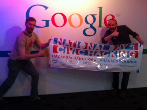 National Day of Hacking photo with Google logo in the background